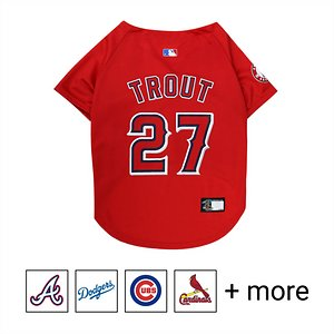 Pets First MLB Players Dog & Cat Jersey, Mike Trout, X-Small; **Remember to measure your pet for the paw-fect fit.** Batter up! Show everyone who your favorite All-Star is with Pets First MLB Players Dog & Cat Jersey. Designed with durable satin and mesh jersey materials, this unique uniform features a screen-printed name and number on the back, and logo in front in vibrant team colors. It also includes a woven jock tag label for your paw-tner's name. Talk about a home run! Get your furry friend into the swing of things with Pets First MLB Players Dog & Cat Jersey.