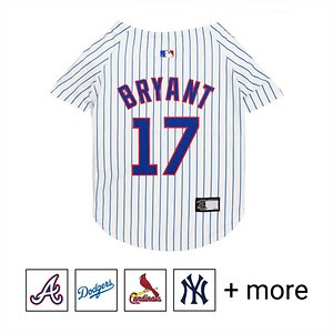 Pets First MLB Players Dog & Cat Jersey, Kris Bryant, Small; **Remember to measure your pet for the paw-fect fit.** Batter up! Show everyone who your favorite All-Star is with Pets First MLB Players Dog & Cat Jersey. Designed with durable satin and mesh jersey materials, this unique uniform features a screen-printed name and number on the back, and logo in front in vibrant team colors. It also includes a woven jock tag label for your paw-tner's name. Talk about a home run! Get your furry friend into the swing of things with Pets First MLB Players Dog & Cat Jersey.