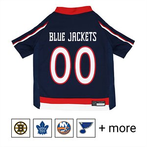 Pets First NHL Hockey Dog & Cat Jersey, Columus Blue Jackets, Small; **Remember to measure your pet for the paw-fect fit.** Game on! Show everyone who your favorite on-ice team is with Pets First NHL Hockey Dog & Cat Jersey. Designed with durable satin and mesh jersey materials, this unique uniform features a screen-printed team name and number on the back, and logo in front in vibrant team colors. It also includes a woven jock tag label for your paw-tner's name. Talk about a hat trick! Get your furry friend ready to drop the puck with Pets First NHL Hockey Dog & Cat Jersey.