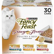 Fancy Feast Gravy Lovers Poultry & Beef Variety Pack Canned Cat Food , 3-oz can, case of 30