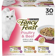 Fancy Feast Grilled Poultry & Beef Variety Pack Canned Cat Food, 3-oz can, case of 30