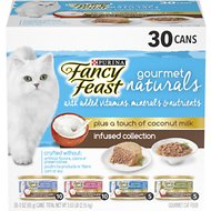 Fancy Feast Gourmet Naturals Coconut Milk Infused Variety Pack Canned Cat Food, 3-oz can, case of 30