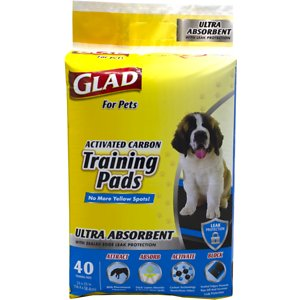 Glad For Pets Activated Carbon Ultra-Absorbent Dog Training Pads, 23 x 23-in, 40 count, Unscented