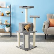 Frisco 52-in Faux Fur Cat Tree & Condo, Gray