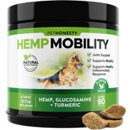 PetHonesty Hemp Mobility Snacks Hip + Joint Support Soft Chews Dog Supplement, 90 count