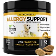 PetHonesty Allergy Relief Snacks Immunity Strength & Digestive Health Soft Chews Dog Supplement, 90 count