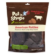 Pet 'n Shape American Patties Premium Beef Lung Dog Treats, 16-oz bag