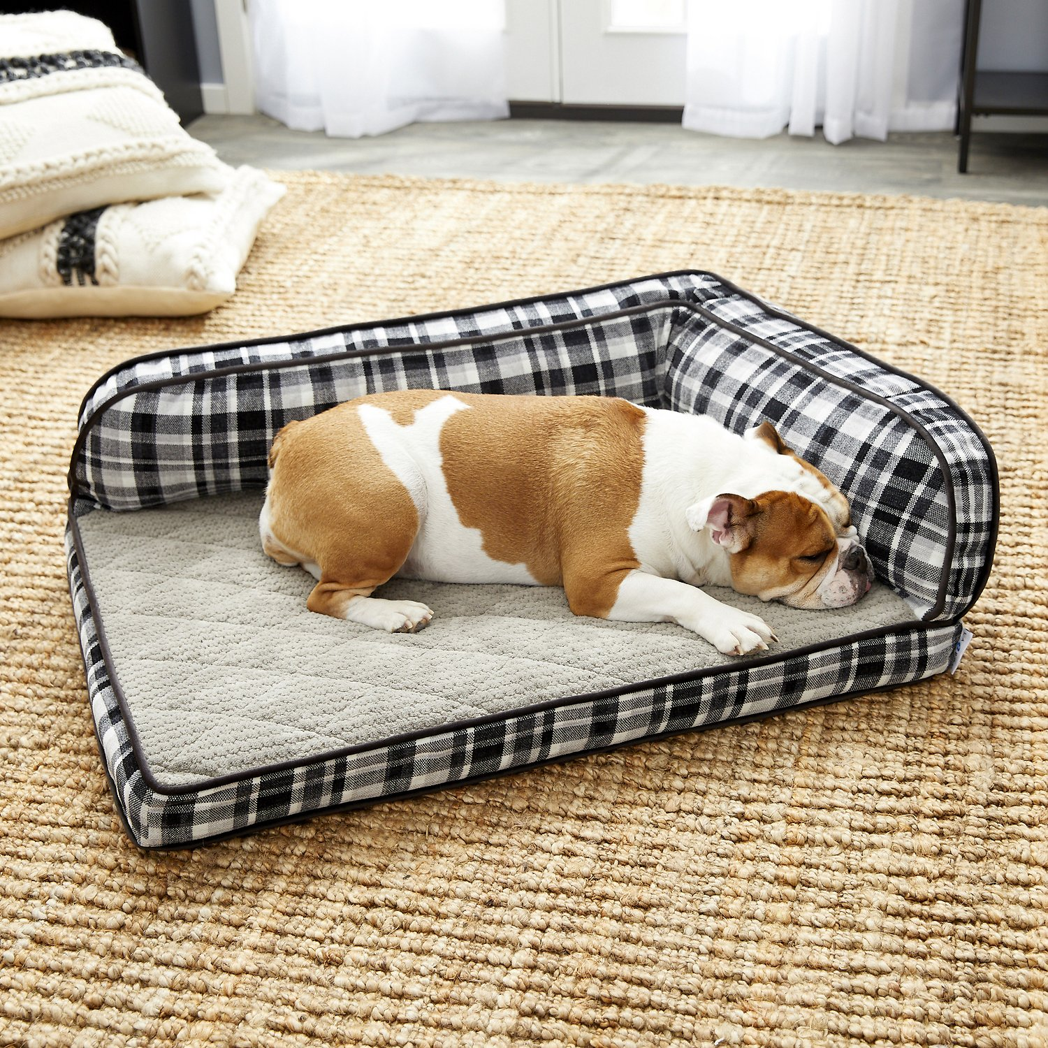 La Z Boy Sadie Orthopedic Bolster Dog Bed W Removable Cover Spencer Plaid Chewy Com
