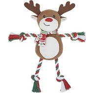 Frisco Holiday Reindeer Plush with Rope Squeaky Dog Toy