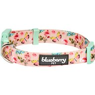 Blueberry Pet Rose & Butterfly Print Dog Collar, Medium