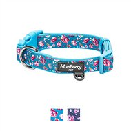 Blueberry Pet Flowers of Rose Print Dog Collar, Cerulean Blue, Medium