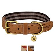 Blueberry Pet Classic Leather Striped Dog Collar, Black Chocolate & Taupe, Large