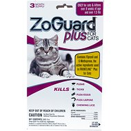 ZoGuard Plus Flea & Tick Treatment for Cats 1.5 lbs and up, 3 treatments