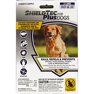 ShieldTec Plus Flea & Tick Treatment for Dogs, 66 lbs and up, 4 treatments
