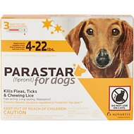 Parastar Flea & Tick Treatment for Dogs (4-22lbs), 3 treatments