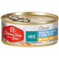 Chicken Soup for the Soul Weight & Mature Care Ocean Fish, Chicken & Turkey Recipe Pate Canned Cat Food, 5.5-oz, case of 24