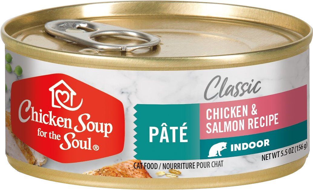 Chicken Soup For The Soul Indoor Chicken And Salmon Recipe Pate Canned Cat Food 5 5 Oz Case Of 24 Chewy Com
