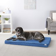 Frisco Ortho Quilted Solid Memory Foam Lounger Pet Bed, Blue, 48-in
