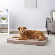 Frisco Ortho Quilted Solid Memory Foam Lounger Pet Bed, Beige, 42-in