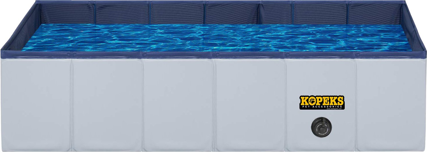 KOPEKS Outdoor Portable Rectangular Dog Swimming Pool, Gray, Small