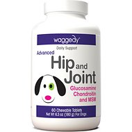 Waggedy Advanced Hip & Joint Glucosamine, Chondroitin & MSM Dog Supplement, 60 Count