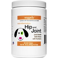 Waggedy Anti-Inflammatory Hip & Joint Turmeric, Glucosamine & MSM Dog Supplement, 90 Count