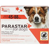 Parastar Flea & Tick Treatment for Dogs (45-88lbs), 3 treatments