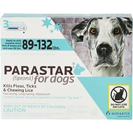 Parastar Flea & Tick Treatment for Dogs (89-132lbs), 3 treatments