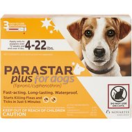 Parastar Plus Flea & Tick Treatment for Dogs (4-22lbs), 3 treatments