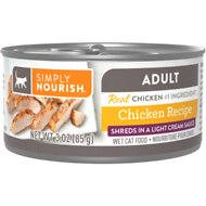 Simply Nourish Essentials Chicken Recipe Adult Shredded in Gravy Canned Cat Food, 3-oz, case of 24