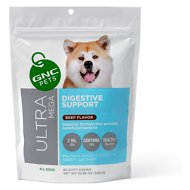 GNC Pets Ultra Mega Digestive Support Beef Flavor Dog Supplement, 60 count