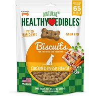 Nylabone Natural Healthy Edibles Biscuits Chicken & Veggie Recipe Grain-Free Dog Treats, 65 count