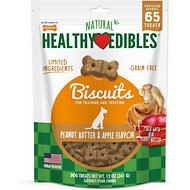 Nylabone Natural Healthy Edibles Biscuits Peanut Butter & Apple Recipe Grain-Free Dog Treats, 65 count