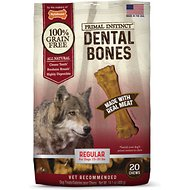 Nylabone Primal Instinct Regular Beef Recipe Dental Bones Dog Treats, 20 count