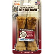 Nylabone Primal Instinct Large Beef Recipe Dental Bones Dog Treats, 2 count