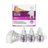 Comfort Zone 2X Pheromone Formula Calming Diffuser Kit for Cat Calming, 3 Diffusers, 6 Refills
