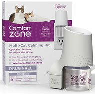 Comfort Zone 2X Pheromone Formula Multicat Diffuser Kit for Cat Calming, 1 Diffuser, 1 Refill