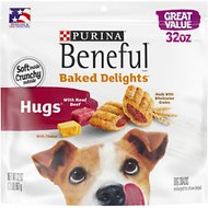 Purina Beneful Baked Delights Hugs with Real Beef & Cheese Dog Treats, 32-oz pouch