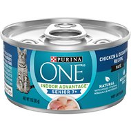 Purina ONE Vibrant Maturity 7+ Chicken & Ocean Whitefish Recipe Pate Wet Cat Food, 3-oz, case of 24