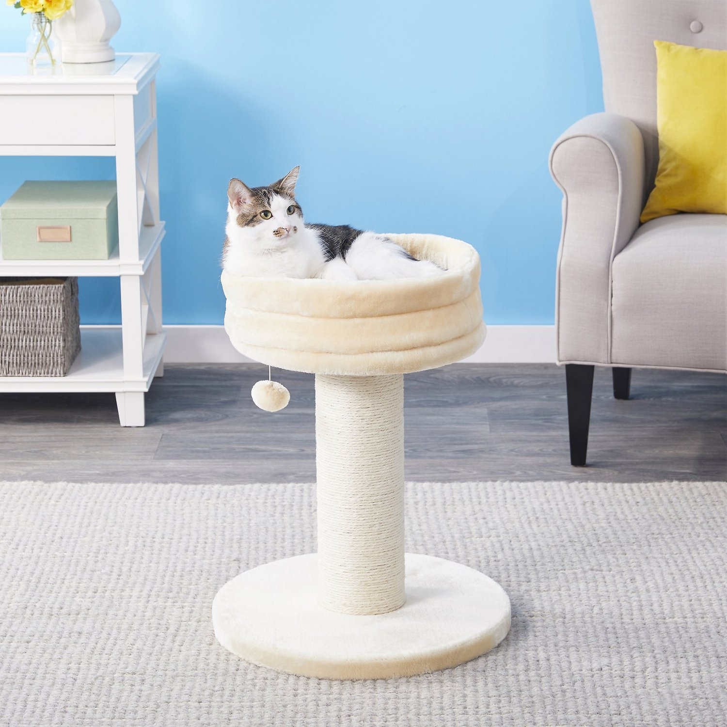 Cream New Faux Fur Cat Hammock with Two Sisal Steps