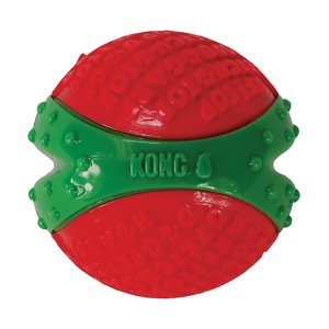 KONG Holiday CoreStrength Ball Dog Toy, Medium; Your pup is going to have a ball this howl-iday season playing with KONG's Holiday CoreStrength Ball Dog Toy! This durable toy is built to bring dogs excitement, extended play time and plenty of chew time with its multilayered core. The extra layers in the center make this toy tough, while the textured exterior helps encourage healthy gums and teeth as your canine companion chews. With interactive play like a friendly game of fetch, you'll be able to strengthen the bond you have with your furry friend even further! Best of all, this toy comes in more than one size, so you can choose the right one for your pal.