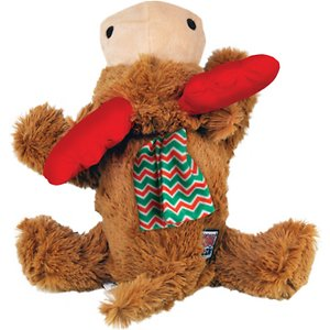 KONG Holiday Cozie Reindeer Dog Toy, Medium; 'Tis the season to be jolly, so start it off right by gifting your furry friend with KONG's Holiday Cozie Reindeer Dog Toy. Your dog will be ready for all the reindeer games with this soft but durable plush by her side. KONG Cozies are cute and cuddly but also made with an extra layer of material to help them stand up to plenty of play. Cozies are perfect for a game of fetch or snuggling up next to by the fireplace. Best of all, this reindeer contains a squeaker to pique your pup's interest and is built with minimal stuffing for less mess!