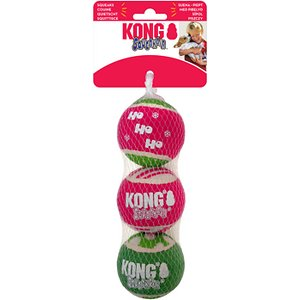 KONG Holiday SqueakAir Ball Dog Toy, 3 count; It's the most wonderful time of the year—there'll be furry friends fetching, a whole lot of catching and squeaking outside and at home! KONG's Holiday SqueakAir Ball Dog Toys will help your dog spend his boundless reserves of energy. The durable balls combine the benefits of two classics—a tennis ball and a squeaker toy, so your sidekick can be physically and mentally stimulated. Every purchase comes with three toys made of high-quality material and non-abrasive felt so it's durable to stand up to play but gentle enough on your pup's teeth and gums. Bounce the balls high or through them far to engage your holiday-loving hound!