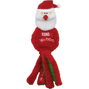 KONG Holiday Wubba Flatz Santa Dog Toy; \\\'Tis the season to be jolly, so start it off right by giving your dog KONG's Holiday Wubba Flatz Reindeer Dog Toy! With a flat design, long tails at the bottom and a squeaker inside, this toy is every dog's dream when it comes to fetching, tugging and thrashing. Minimal stuffing means minimal mess, plus it's especially easy for your furry friend to carry! Not only is this toy fun to play with, but since it's made of a soft fleece material, it also makes the paw-fect toy for your dog to snuggle up next to by the fireplace. With toys like this, it really is the most wonderful time of the year!