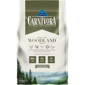 Blue Buffalo Carnivora Woodland Blend Grain-Free Adult Dry Dog Food, 4-lb bag; Satisfy your pup's natural instincts with Blue Buffalo Carnivora Woodland Blend Grain-Free Adult Dry Dog Food. It features 90% of its protein from 11 different animal sources including fresh, raw and dried chicken, turkey, saltwater fish and duck. This high-protein food contains nutrient-rich organs and cartilage to mimic what your furry friend would eat in nature. It also has vitamins and minerals to give your paw-tner a complete and balanced diet with omega 3 and 6 fatty acids for skin and coat health. With no grains, peas or potatoes, Blue Buffalo Carnivora Woodland Blend Adult Dry Dog Food has the protein and nutrients to keep your companion going strong.