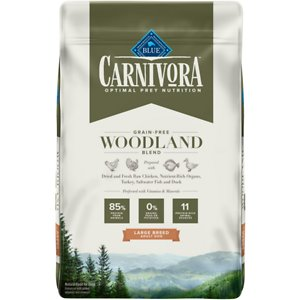 Blue Buffalo Carnivora Woodland Blend Large Breed Grain-Free Adult Dry Dog Food, 22-lb bag; Satisfy your pup's natural instincts with Blue Buffalo Carnivora Woodland Blend Large Breed Grain-Free Adult Dry Dog Food. It features  85% of its protein from 11 different animal sources including fresh, raw and dried chicken, turkey, saltwater fish and duck. This high-protein food contains nutrient-rich organs and cartilage to mimic what your dog would eat in nature. It also has vitamins and minerals to give your pooch a complete and balanced diet with omega-3 and omega-6 fatty acids for skin and coat health. With no grains, peas or potatoes, Blue Buffalo Carnivora Woodland Blend Large Breed Adult Dry Dog Food has the protein and nutrients to keep your pet going strong.