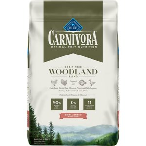 Blue Buffalo Carnivora Woodland Blend Small Breed Grain-Free Adult Dry Dog Food, 10-lb bag; Satisfy your pup's natural instincts with Blue Buffalo Carnivora Woodland Blend Small Breed Grain-Free Adult Dry Dog Food. It features 90% of its protein from 11 different animal sources including fresh, raw and dried chicken, turkey, saltwater fish and duck. This high-protein food contains nutrient-rich organs and cartilage to mimic what your small friend would eat in nature. It also has vitamins and minerals to give your paw-tner a complete and balanced diet with omega 3 and 6 fatty acids for skin and coat health. With no grains, peas or potatoes, Blue Buffalo Carnivora Woodland Blend Small Breed Adult Dry Dog Food has the protein and nutrients to keep your companion going strong.