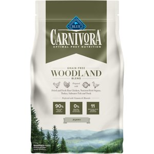 Blue Buffalo Carnivora Woodland Blend Puppy Grain-Free Dry Dog Food, 4-lb bag; Satisfy your pup's natural instincts with Blue Buffalo Carnivora Woodland Blend Grain-Free Puppy Dry Dog Food. It features 90% of its protein from 11 different animal sources including fresh, raw and dried chicken, turkey, saltwater fish and duck. This high-protein food contains nutrient-rich organs and cartilage to mimic what your new friend would eat in nature. It also has vitamins and minerals to give your paw-tner a complete and balanced diet with DHA and ARA to support brain and eye development. With no grains, peas or potatoes, Blue Buffalo Carnivora Woodland Blend Dry Puppy Food has the protein and nutrients to get your companion started on the right paw.