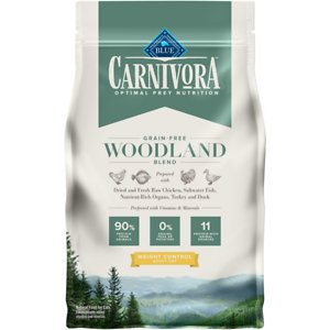 Blue Buffalo Carnivora Woodland Blend Weight Control Grain-Free Adult Dry Cat Food, 4-lb bag; Let your friend eat just like she would in nature with Blue Buffalo Carnivora Woodland Blend Weight Control Grain-Free Adult Dry Cat Food. It features 90% of its protein from 11 different animal sources including fresh, raw and dried chicken, turkey, saltwater fish and duck. This high-protein food contains nutrient-rich organs and cartilage to fulfill your kitty's natural instincts. It also has vitamins and minerals to give your feline a complete and balanced diet with omega 3 and 6 fatty acids for skin and coat health. With no grains, peas or potatoes, Blue Buffalo Carnivora Woodland Blend Weight Control Adult Dry Cat Food has the protein and nutrients to keep your companion going strong.