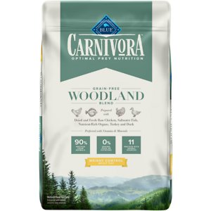 Blue Buffalo Carnivora Woodland Blend Weight Control Grain-Free Adult Dry Cat Food, 10-lb bag; Let your friend eat just like she would in nature with Blue Buffalo Carnivora Woodland Blend Weight Control Grain-Free Adult Dry Cat Food. It features 90% of its protein from 11 different animal sources including fresh, raw and dried chicken, turkey, saltwater fish and duck. This high-protein food contains nutrient-rich organs and cartilage to fulfill your kitty's natural instincts. It also has vitamins and minerals to give your feline a complete and balanced diet with omega 3 and 6 fatty acids for skin and coat health. With no grains, peas or potatoes, Blue Buffalo Carnivora Woodland Blend Weight Control Adult Dry Cat Food has the protein and nutrients to keep your companion going strong.